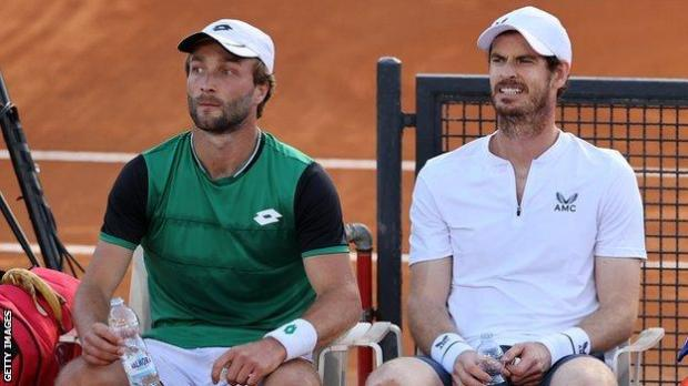 Liam Broady and Andy Murray during the Italian Open