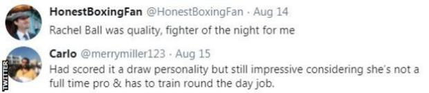 """Boxing fans pay tribute to Rachel Ball after the social worker beat Shannon Courtenay. One fan said she was the """"fighter of the night"""""""