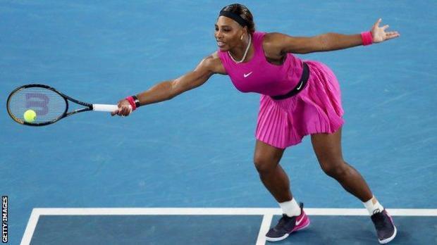 Serena Williams plays a shot