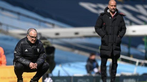 Leeds manager Marcelo Bielsa and Manchester City boss Pep Guardiola