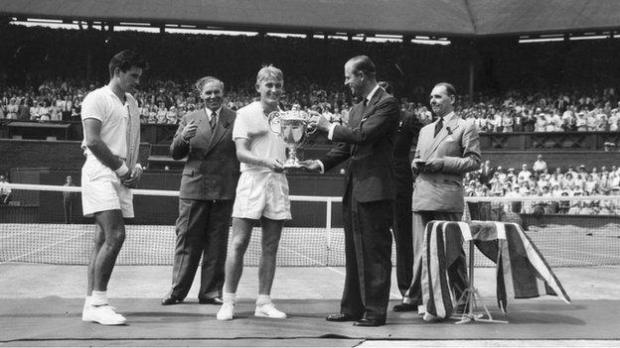 Prince Philip at Wimbledon in 1957