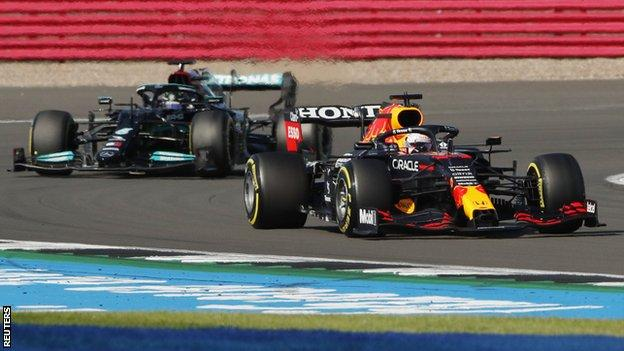 Max Verstappen and Lewis Hamilton out on track