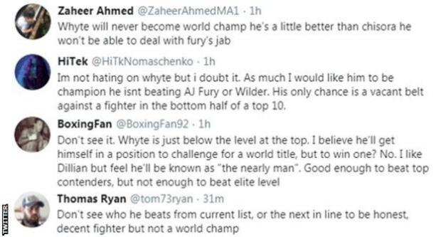 Boxing fans on Twitter discuss whether Dillian Whyte could win a world title. One fan says that he is not a world-level fighter