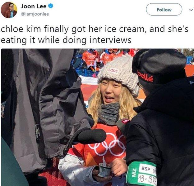 Chloe Kim ice cream tweet