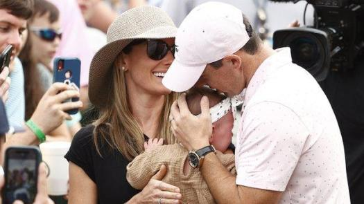 Rory McIlroy's wife Erica and their daughter Poppy join in the celebrations