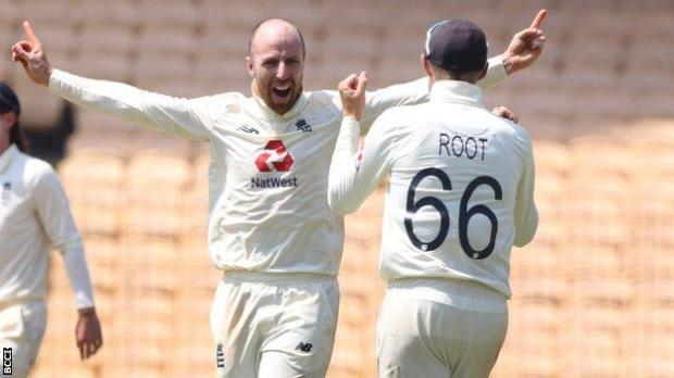 Jack Leach celebrates wicket