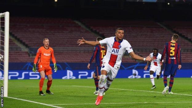 Kylian Mbappe scores for PSG against Barcelona