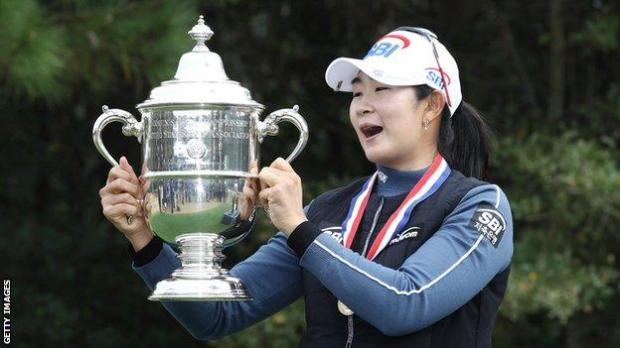 South Korea's A-Lim Kim holds up the trophy after winning the 2020 US Women's Open