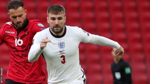 Luke Shaw in action for England against Albania