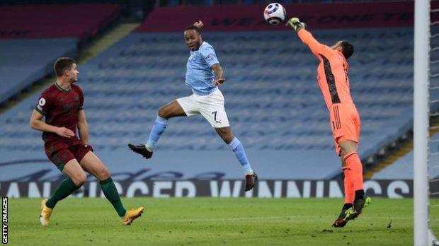 Rui Patricio makes a save from Raheem Sterling