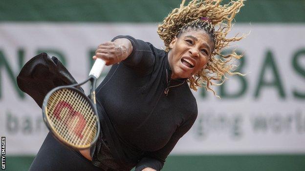 Serena Williams after serving