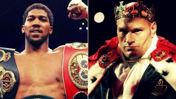 Joshua holds the IBF, WBA and WBO world titles while Fury holds the WBC belt
