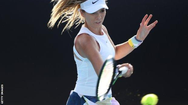 Katie Boulter hits a forehand