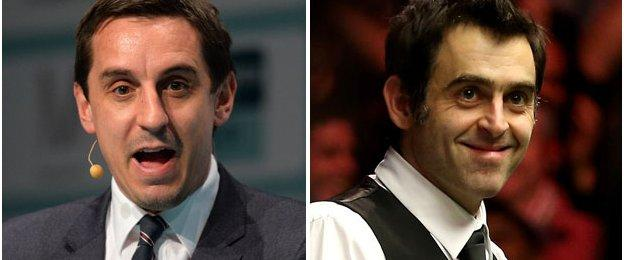 Ronnie O'Sullivan and Gary Neville