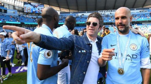 Noel Gallagher and Man City boss Pep Guardiola