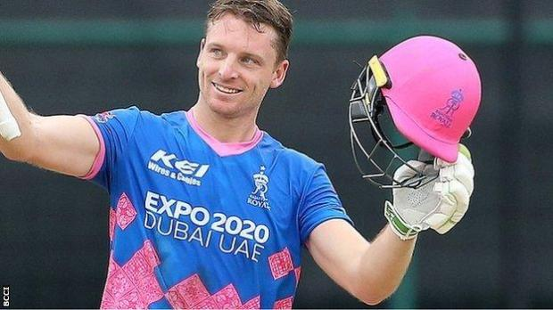 Jos Buttler celebrates reaching his fifty while playing for the Rajasthan Royals in the IPL