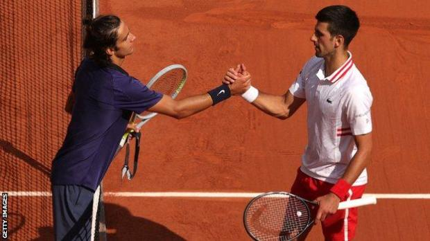 Lorenzo Musetti and Novak Djokovic.