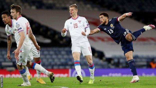 Southampton striker Che Adams opened his Scotland account on his third appearance