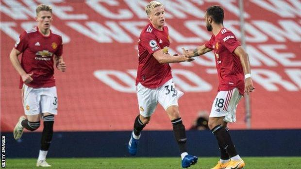 Summer signing Donny Van de Beek, centre, scored after coming on as a second-half substitute