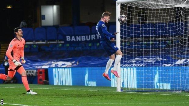 Timo Werner scores for Chelsea against Real Madrid in the Champions League semi-final