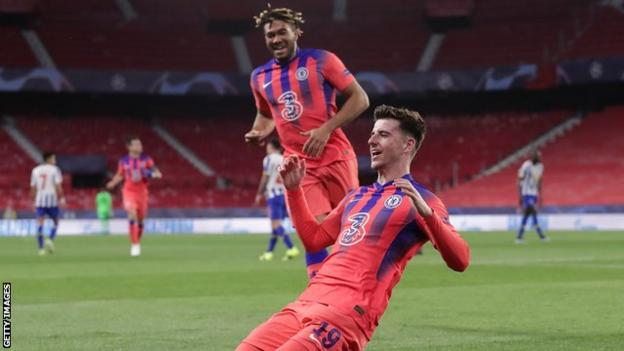 Mason Mount celebrates scoring Chelsea against Porto in the Champions League