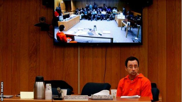 sport Larry Nassar sitting in court
