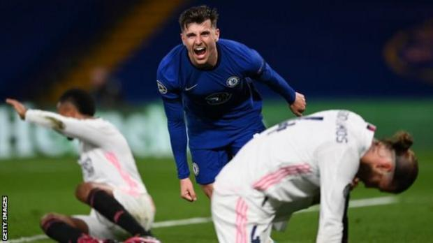 Mason Mount celebrates scoring for Chelsea against Real Madrid in the Champions League