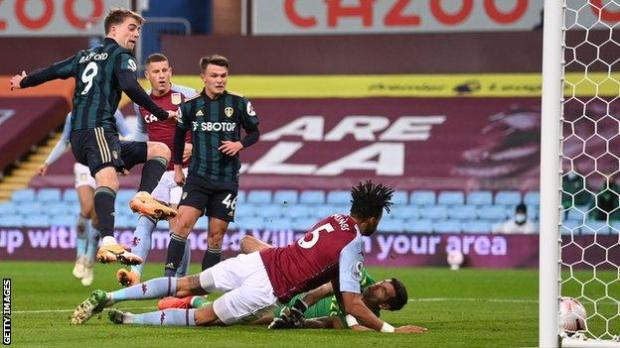 Patrick Bamford scores his first goal for Leeds against Aston Villa