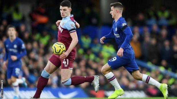 West Ham's Declan Rice and Chelsea's Mason Mount in action in the Premier League in November 2019