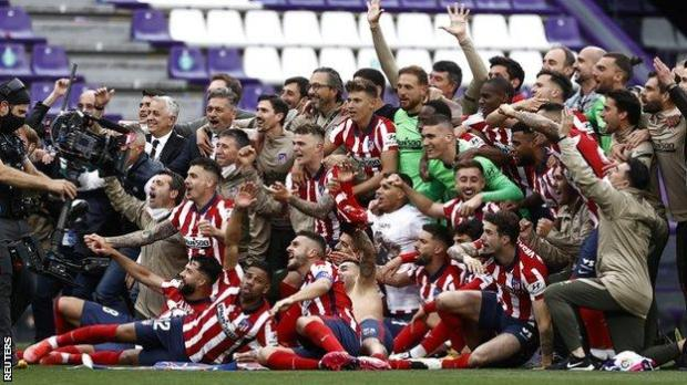Atletico Madrid players celebrate