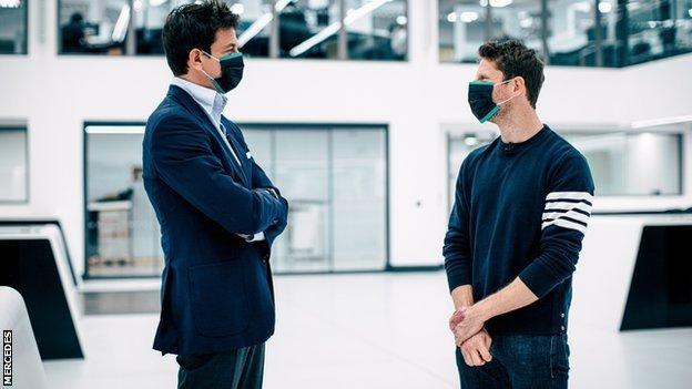 Toto Wolff and Romain Grosjean