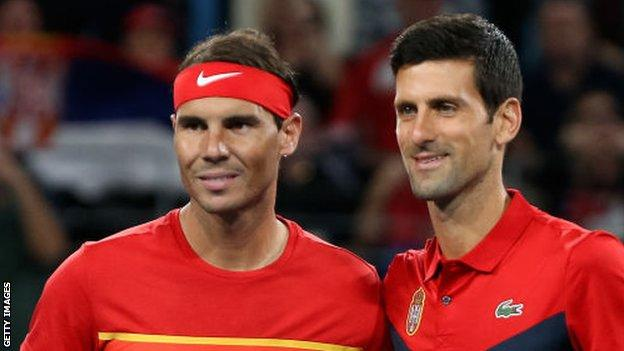 Rafael Nadal and Novak Djokovic before their last meeting at the ATP Cup in January
