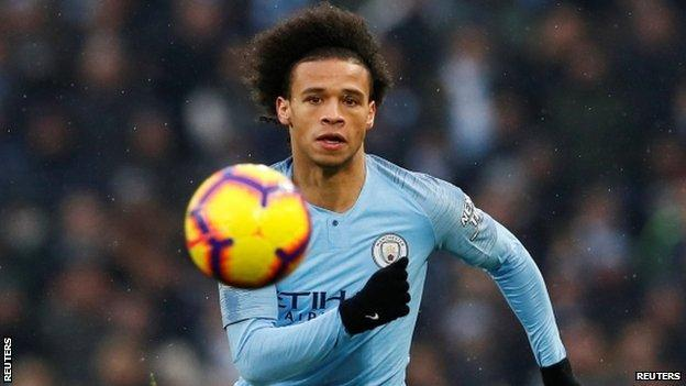 Leroy Sane in action for Manchester City against Everton