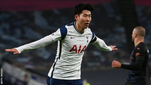 Son Heung-min celebrates scoring Tottenham's opener against Manchester City