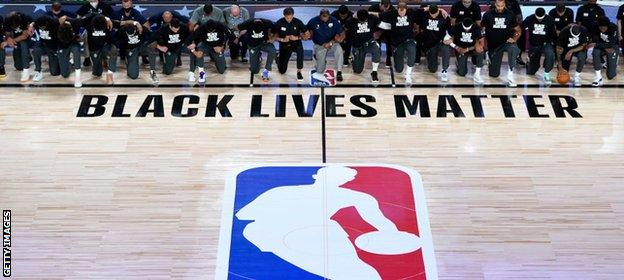 Black Lives Matter branding featured on the court alongside the league logo