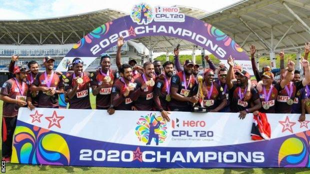 Trinbago Knight Riders celebrate winning the 2020 Caribbean Premier League