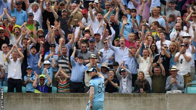 The crowd react after England all-rounder Ben Stokes takes a sensational against South Africa