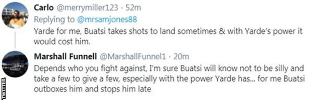 Fans on Twitter predict who would win between Anthony Yarde and Joshua Buatsi. One fan says Yarde's power will be too much for Buatsi, while the other predicts that Buatsi wins by stoppage.
