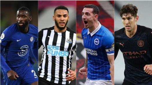 Antonio Rudiger (Chelsea), Jamaal Lascelles (Newcastle), Lewis Dunk (Brighton), John Stones (Manchester City)