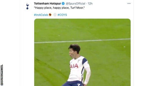 Tweet on Tottenham Hotspur account, showing Son Heung-Min celebrating scoring at Turf Moor