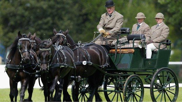 Prince Philip pictured carriage driving at Windsor in 2005