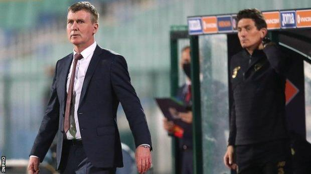 New Republic of Ireland boss Stephen Kenny watches the game in Bulgaria