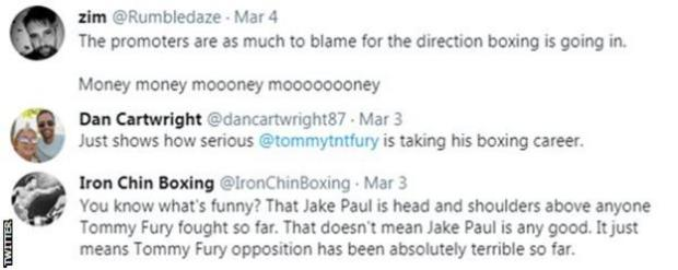 Fans criticise a potential fight between Tommy Fury and Jake Paul, with one saying it 'shows just how serious Tommy is about his career'