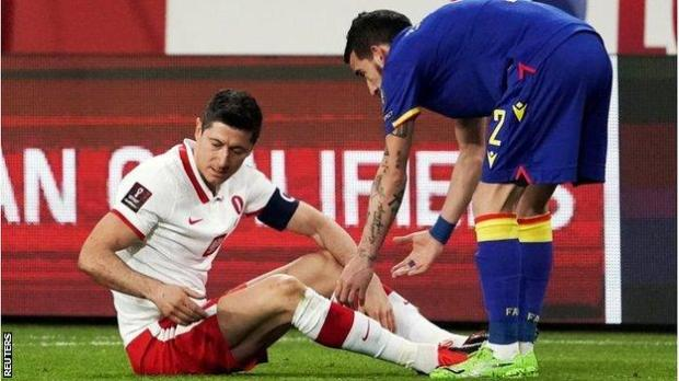 Robert Lewandowski was injured on the recent international break for Poland