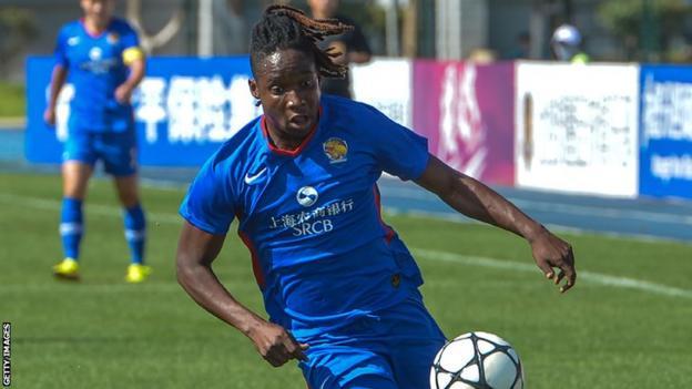 Zambia captain Barbra Banda in action for Chinese club Shanghai Shengli