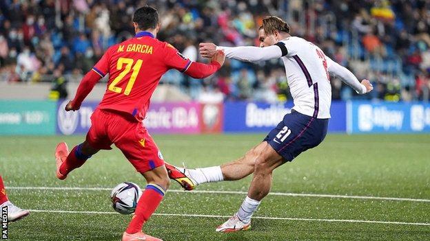 Jack Grealish scores for England against Andorra