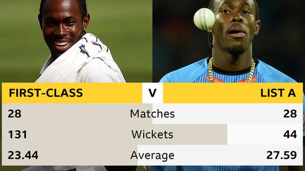 A comparison of Jofra Archer's first-class and list A records