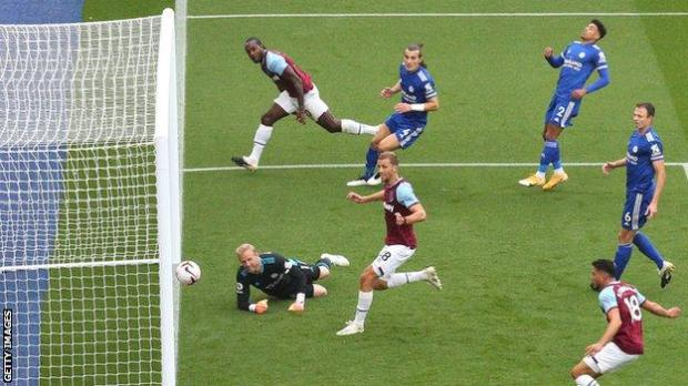Michail Antonio heads in West Ham's opening goal at Leicester