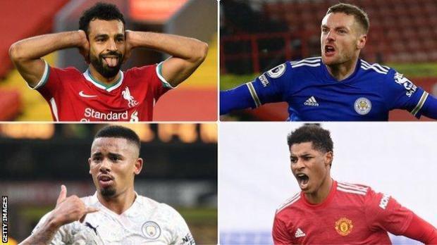 Mohamed Salah, Jamie Vardy, Gabriel Jesus and Marcus Rashford