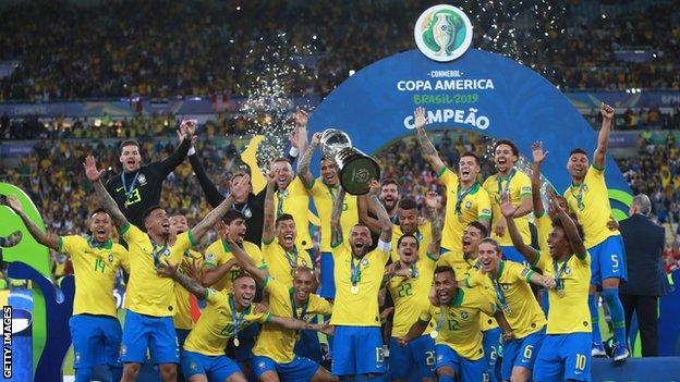 Brazil celebrate winning the 2019 Copa America